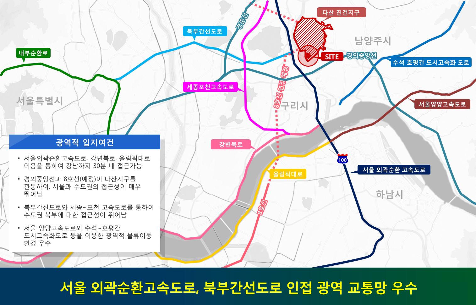 서울 외곽순환고속도로, 북부간선도로 인접 광역 교통망 우수